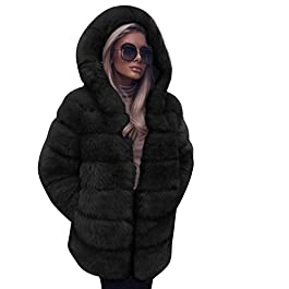 FNKDOR Women Fashion Fluffy Shaggy Long Sleeve Faux Fur Hooded Coat Jacket with Pockets Autumn Winter Warm Overcoat