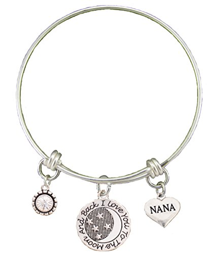 Nana Love You To The Moon Silver Wire Adjustable Bracelet Heart Jewelry Gift