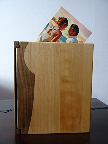 Personalized Wood Cover Photo Album, Custom Engraved Wedding Album, Style 102 (Maple & Walnut Cover) by LoveToCreateStamps (Image #1)