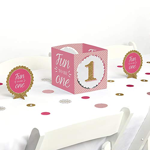 Big Dot of Happiness 1st Birthday Girl - Fun to be One - First Birthday Party Centerpiece & Table Decoration Kit ()