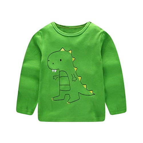 rls Kids Tops Autumn Winter Long Sleeved Cartoon Dinosaur Print Blouse T Shirt Clothes 1-6T (3-4 Years Old, Green) ()
