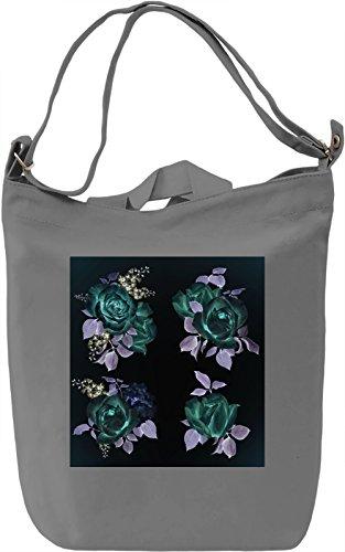Black Flowers Borsa Giornaliera Canvas Canvas Day Bag| 100% Premium Cotton Canvas| DTG Printing|