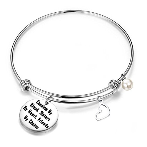 let Cousins by Blood Sisters by Heart Friends by Choice Expandable Bangle Cousin Jewelry Gift for Cousins (Silver) (Silver) ()