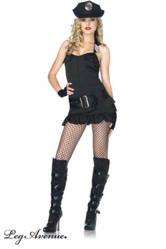 Officer Pat Down Costume (Leg Avenue Women's Officer Pat Down Dress, Black, Small/Medium)