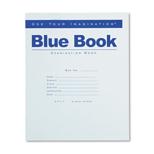 Roaring Spring® - Exam Blue Book, Wide Rule, 8-1/2 x 7, White, 8 Sheets/16 Pages - Sold As 1 Each - Examination book has a flexible blue stapled cover. by Roaring Spring
