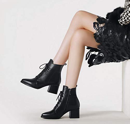 Bottines Chaussures à Noir Talons Marche Martin Bas de Up Classic Lace Femmes qfAwxXqT
