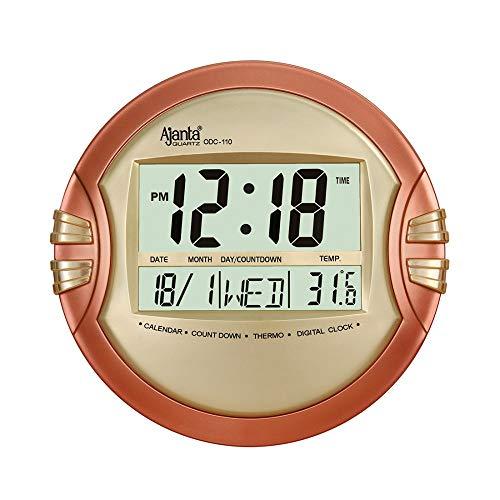 Ajanta Quartz Digital Round Wall – Table Clock (26.5 cm X 26.5 cm, Golden, ODC-110)