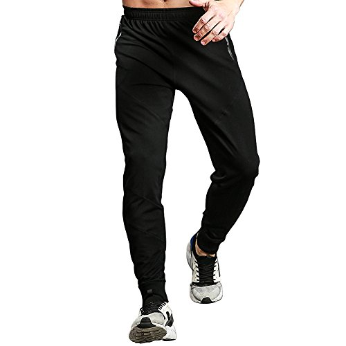 Mens Basketball Warm Up Pants (Gerlobal Mens Joggers Pants Active Casual Gym Workout Running Sweatpants With Zipper Pockets Black,X-Large)