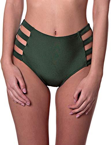 RELLECIGA Women's Green Strappy High Waisted Bikini Bottom Size Large