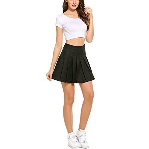 - lokp Women Sun Pleat Skirt Lolita Tutu School Preppy Harajuku Black Skirt XL