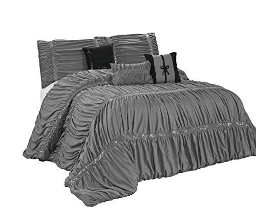7 Piece CLARAITA Chic Ruched Pleated Comforter Set-Queen Kin