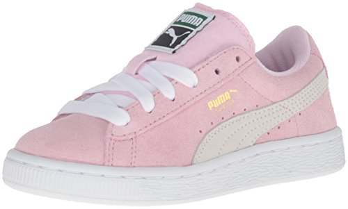 (PUMA Girls' Suede PS Sneaker, Pink Lady/White/Team Gold, 3 M US Little Kid)