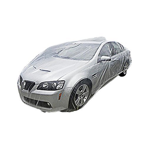 Signstek Disposable Plastic Car Cover---Dust Cover/ Rain Cover/ Paint Cover/ ---for All Cars (Medium)