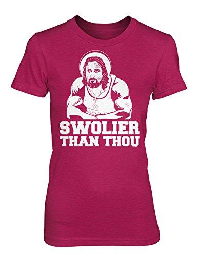 Swolier Than Thou Juniors T-shirt (Pink, Medium)