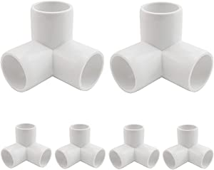 MARRTEUM 1/2 Inch 3 Way PVC Fitting Furniture Grade Pipe Corner Elbow for Greenhouse Shed / Tent Connection / Garden Support Structure / Storage Frame [Pack of 6]