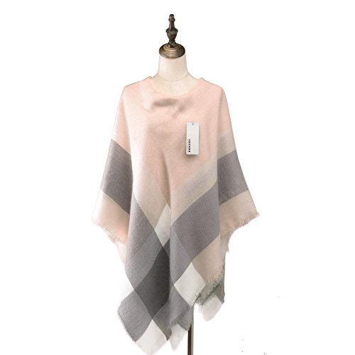 Women's Classic Plaid Tartan Grids Scarf Pashmina Blanket Winter Wraps Shawl (grey pink)