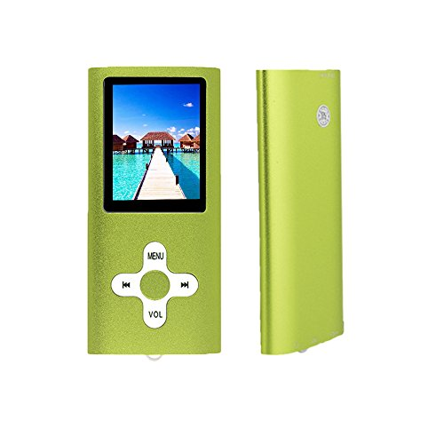 RHDTShop MP3 MP4 Player with a 16 GB Micro SD Card, Support UP to 64GB TF Card, Rechargeable Battery, Green