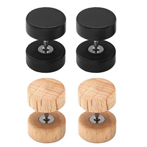 PiercingJ 4pcs 16G 10MM Retro Natural Ebony Blackwood Barbell Stud Earring Fake Cheater Piercing Plug Gauge 00G Look