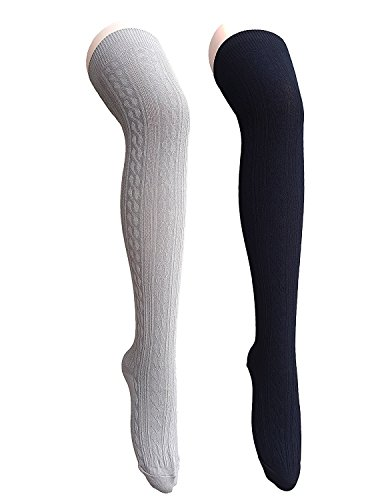 Ravenclaw Student Costume (Century Star Women Girls Basic Classical Cosplay Knit Spiral Thigh High Stocking Socks 2 Pairs Black Light Grey)