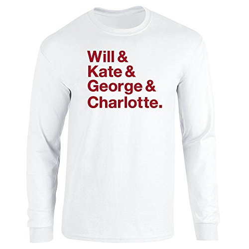 Pop Threads Will & Kate & George & Charlotte. Royal Family White M Long Sleeve T-Shirt Kate Royal Wedding T-shirt