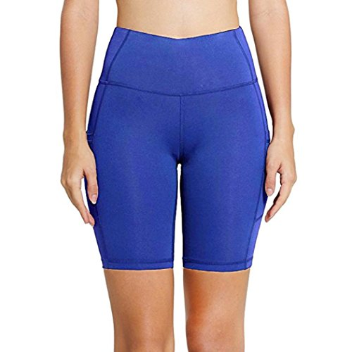 Pervobs Women Shorts, Big Women Sports Yoga Shorts Elastic Workout Out Leggings Fitness Gym Running Athletic Pants (XL, Blue)