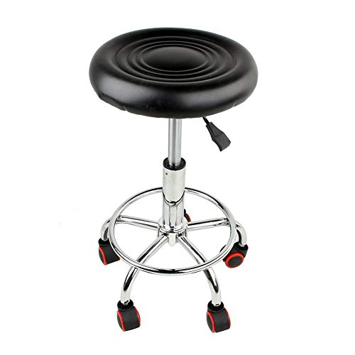Round Rolling Stool Chair Height Adjustable Swivel Hydraulic Heavy Duty Tattoo Massage SPA Salon Stool with Wheels and Back Rest for Kitchen Office Clinic (Round Rolling Stool Chair)