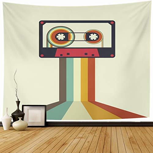 - AlliuCoo Tapestry Wall Hanging 80 x 60 Inches Tape Cassette Retro Vintage Style Music Flat Home Wall Decor Tapestries for Bedroom Living Room Dorm