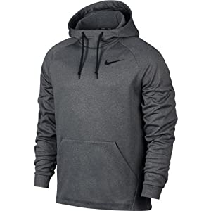 NIKE Men's Therma Training Hoodie Carbon Heather/Black Size Medium
