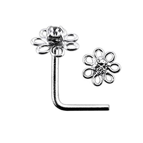 White Jeweled Filigree Flower Top 22 Gauge Silver L Shape - L Bend Nose Stud Nose Pin
