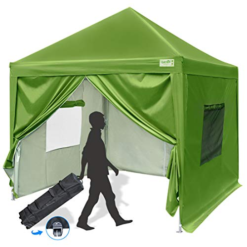 Quictent 10x10 Ez Pop up Canopy Tent Instant Folding Party Tent with Sidewalls, Roller Bag & Waterproof (Green)