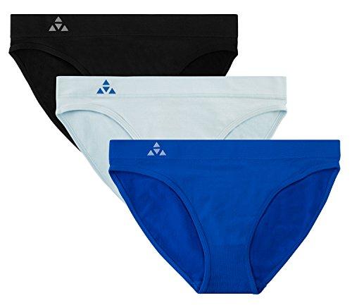 Balanced Tech Women's 3 Pack Seamless Low-Rise Bikini Panties - Black/Royal Blue/Baby Blue - X-Large