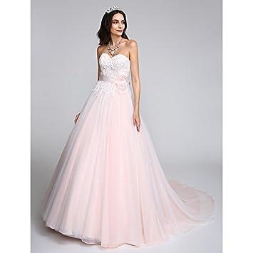 kekafu Una línea Princesa amada capilla tren vestido de novia de tul con apliques Bow por