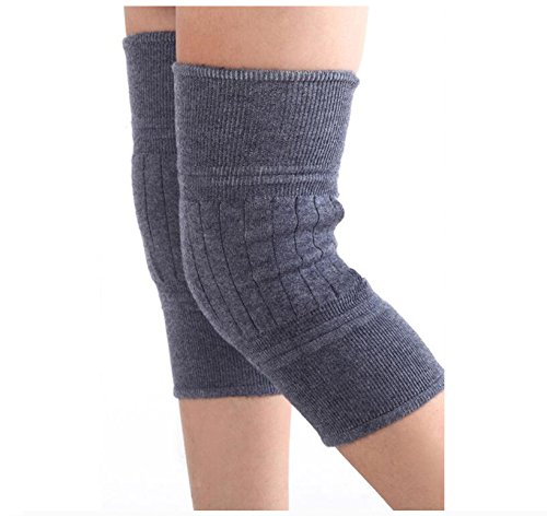 Wool Cashmere Knee Brace Pads Winter Warm Thermal Knee Compression Sleeve for Women Men,Gray,2-Per Pack(1 Pair)