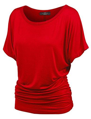 (WT817 Womens Dolman Drape Top with Side Shirring XXXL RED )