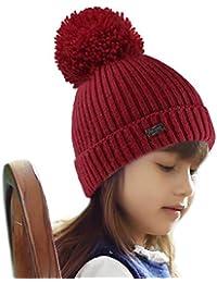 f7d4a85f1d3 Kids Girls Boys Winter Knit Beanie Hats Faux Fur Pom Pom Hat Bobble Ski Cap  Toddler