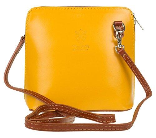 Small or Bag Leather Handbag Shoulder Tan Mini Vera Yellow Cross Italian Genuine Bag Pelle Body 0RwqfRE
