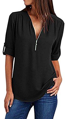 Chiffon Lache Noir Grande Cou Shirt Zipper Femme BLACKMYTH Chemisier Tops V Taille 5R1WPYBwxq