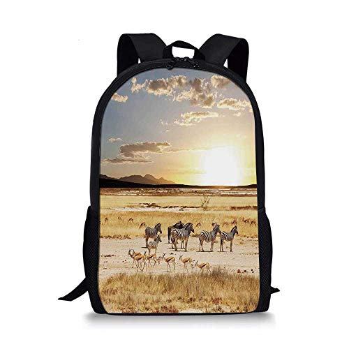 (Safari Stylish School Bag,Zebras with Their Striped Coats in Savannahs Sunset Adventure Africa Wild Safari for Boys,11''L x 5''W x 17''H)
