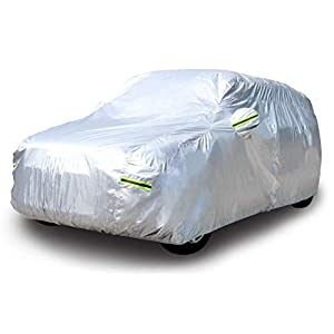 Amazon Basics Silver Weatherproof Car Cover – PEVA with Cotton, SUVs up to 203″