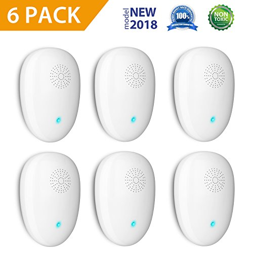 KUSOII Ultrasonic Pest Repellent Electronic Pest Repeller Plug In Home Insect Control Device With Night Light For Mouse, Roaches, Bedbugs, Mosquitoes, Spiders No more Trap Spray & Bait (6 Pack)