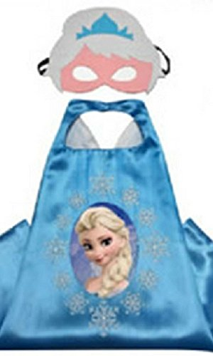 Dress Up Comics Cartoon Superhero Costume with Satin Cape and Matching Felt Mask (Frozen - Elsa) (Boys Frozen Costume)
