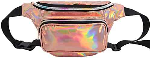 Multifit Creative Hologram Waist Bag Outdoor Fanny Pack PU Bum Bag for Raves