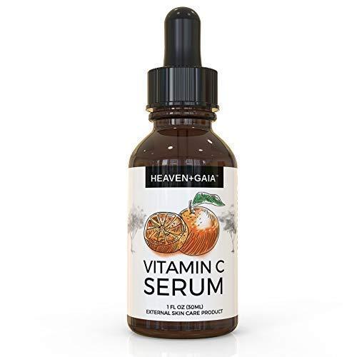 HeavenGaia Vitamin C Face Serum, Topical Acne Serum with Hyaluronic Acid and Vitamin E, 1 Ounce