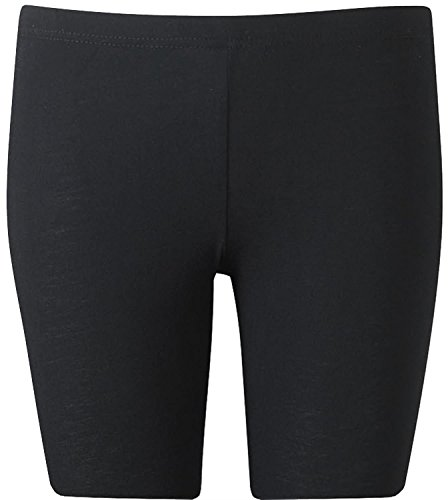 New Womens Plus Size Over Knee Plain Jersey Cycling Shorts ( Black, 1X )