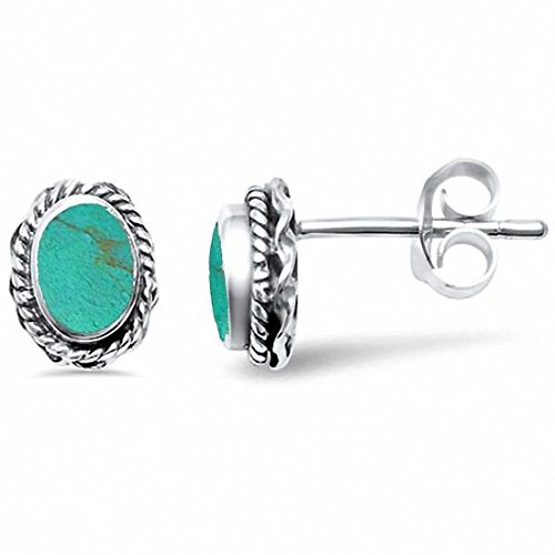 Oval Filigree Solitaire Stud Earrings Simulated Turquoise 925 Sterling Silver