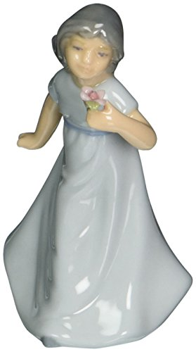 Cosmos 96665 Fine Porcelain Girl in Blue Dress Holding Flower Figurine, 3-1/8-Inch