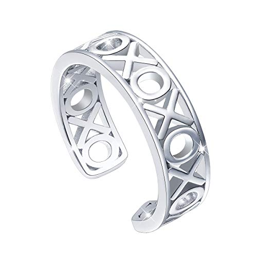 ALPHM Toe Tail Pinky Ring Women S925 Sterling Silver Adjustable Wrap Open Knot Ring XO -