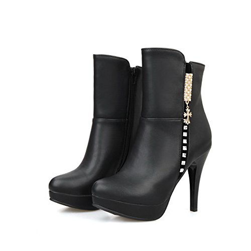 A&N Girls Metal Ornament Stiletto Platform Imitated Leather Boots Black kRFgBHrQ