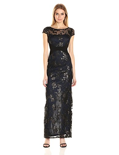 Gown Mesh Navy Embroidered Women's and Jersey Papell Adrianna Black p4YxqOY