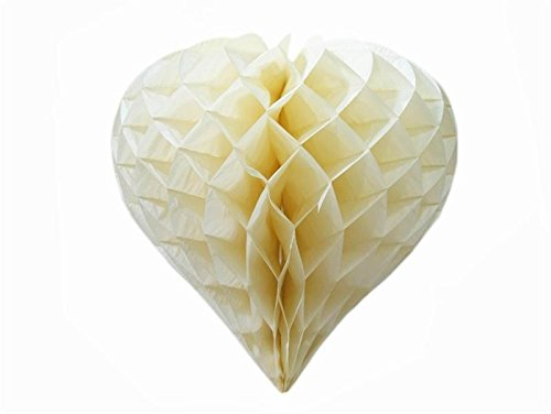 16 Inch Heart-Shaped Honeycomb Paper Lantern - Ivory -